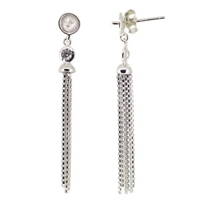 Wholesale Sterling Silver Fancy Tassel Bridal Earrings with CZ Stones - 40mm (Sold per pair)