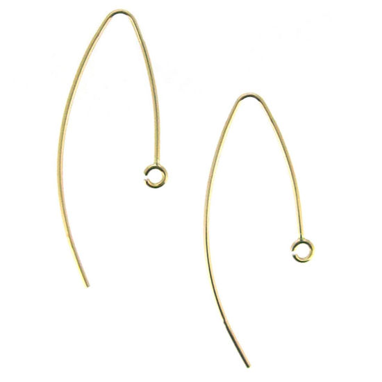 Wholesale 14K Yellow Gold Marquise Ear Wire (1 pair)