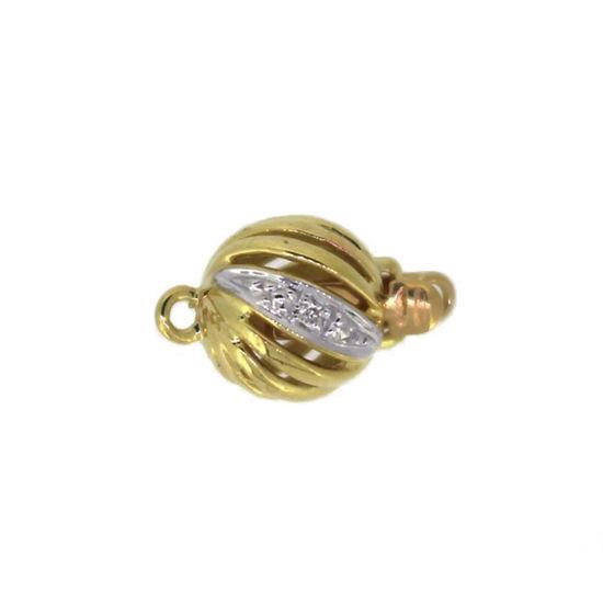 Wholesale 14K Yellow Gold Round Filigree Ball Clasp with Diamond (7mm)