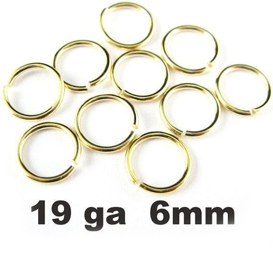 Wholesale Gold plated Sterling Silver 19 Gauge 6mm Open Jumprings for Jewelry Making, Wholesale Findings