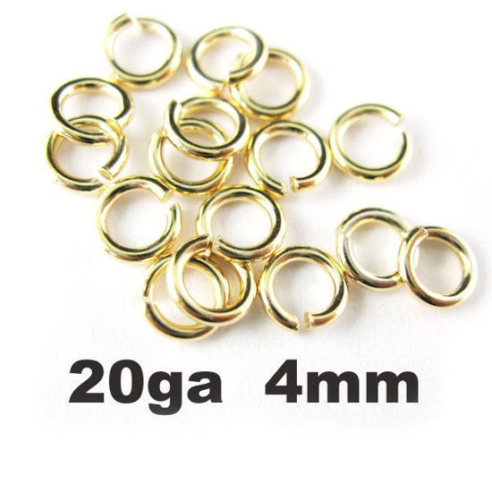 Wholesale Gold plated Sterling Silver 20 Gauge 4mm Open Jumprings for Jewelry Making, Wholesale Findings