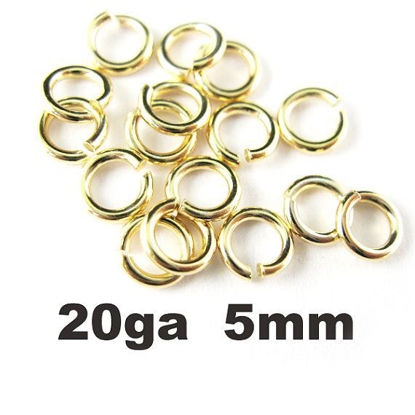 Wholesale Gold plated Sterling Silver 20 Gauge 5mm Open Jumprings for Jewelry Making, Wholesale Findings