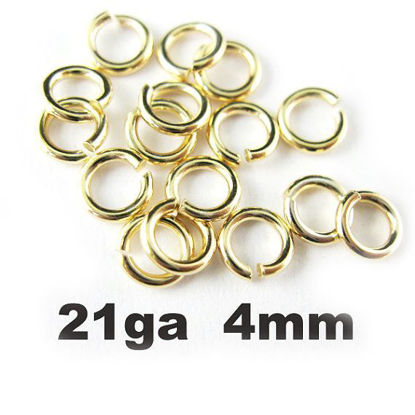 Wholesale Gold plated Sterling Silver 21 Gauge 4mm Open Jumprings for Jewelry Making, Wholesale Findings