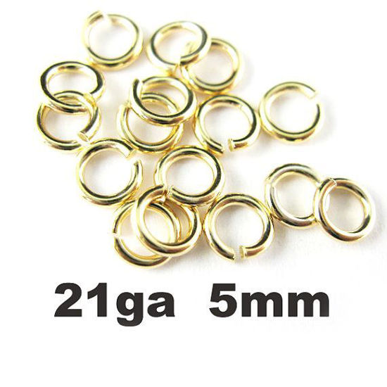Wholesale Gold plated Sterling Silver 21 Gauge 5mm Open Jumprings for Jewelry Making, Wholesale Findings