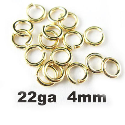 Wholesale Gold plated Sterling Silver 22 Gauge 4mm Open Jumprings for Jewelry Making, Wholesale Findings
