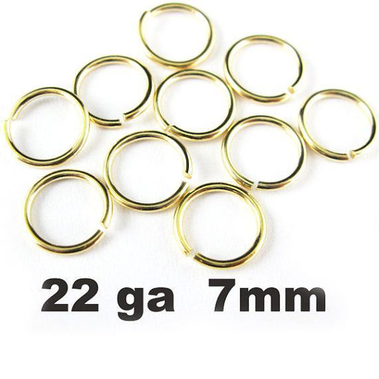 Wholesale Gold plated Sterling Silver 22 Gauge 7mm Open Jumprings for Jewelry Making, Wholesale Findings