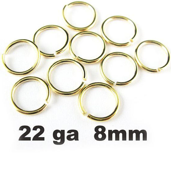 Wholesale Gold plated Sterling Silver 22 Gauge 8mm Open Jumprings for Jewelry Making, Wholesale Findings