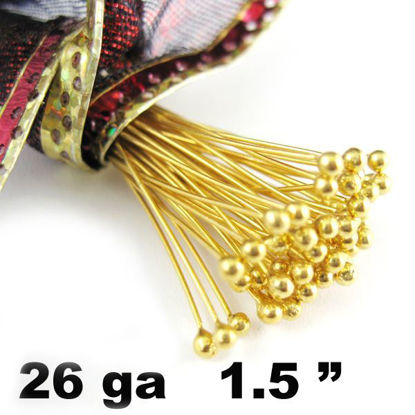 Wholesale 24K Gold Over Sterling Silver Ball End Headpins - 26 ga - 1.5 inches with 1.5mm ball (50 pcs)
