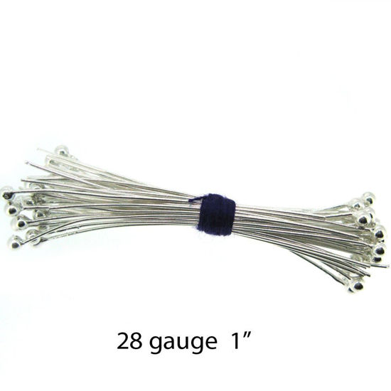 Wholesale Sterling Silver Ball End Headpins - 28 ga - 1 inch with 1.5mm ball (50pcs)