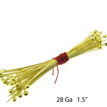 Wholesale 24K Gold Over Sterling Silver Ball End Headpins - 28 ga - 1.5 inch with 1.5mm ball (50pcs)