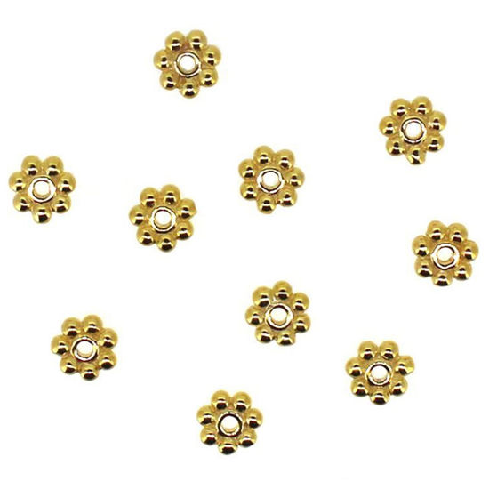 Gold Over Sterling Silver Daisy Spacers - 4mm (10 pcs), Wholesale Findings