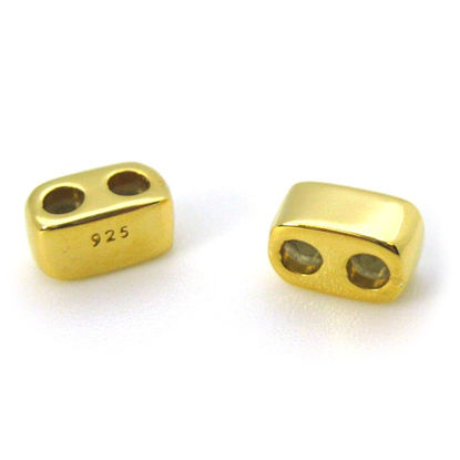 Wholesale Gold Over Sterling Silver Sliding Beads with Silicone - Double Hole Stopper Beads (1 piece)