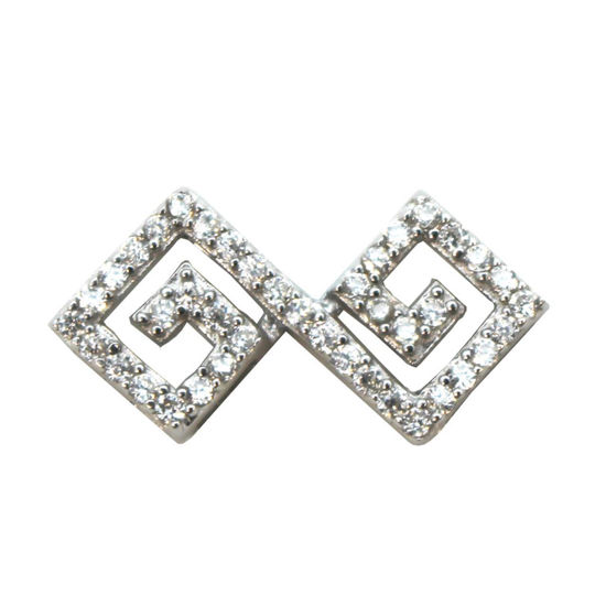 Wholesale Sterling Silver Zig Zag Spacer Connector with CZ Cubic Zirconia Stone, Jewelry Making, Wholesale Beads and Findings