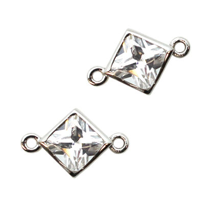 Wholesale 925 Sterling Silver CZ Stone Diamond Shape Connectors - 15mm (2 pcs)
