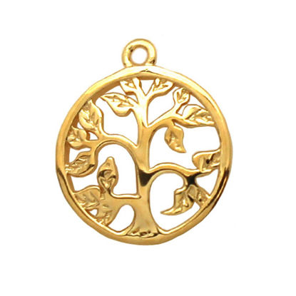 Wholesale 22K Gold Over 925 Sterling Silver Tree Charm with Leaves Pendant - 14mm (1 pc)