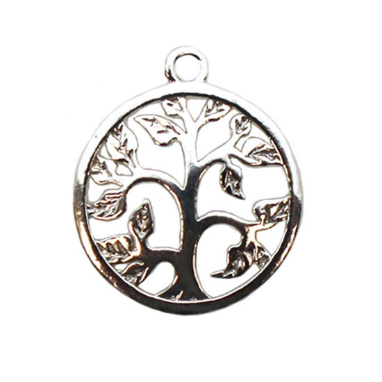 Wholesale 925 Sterling Silver Tree Charm with Leaves Pendant - 14mm (1 pc)