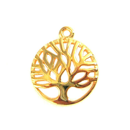 Wholesale Gold Over 925 Sterling Silver Tree of Life Charm Pendant - 12mm (1 pc)