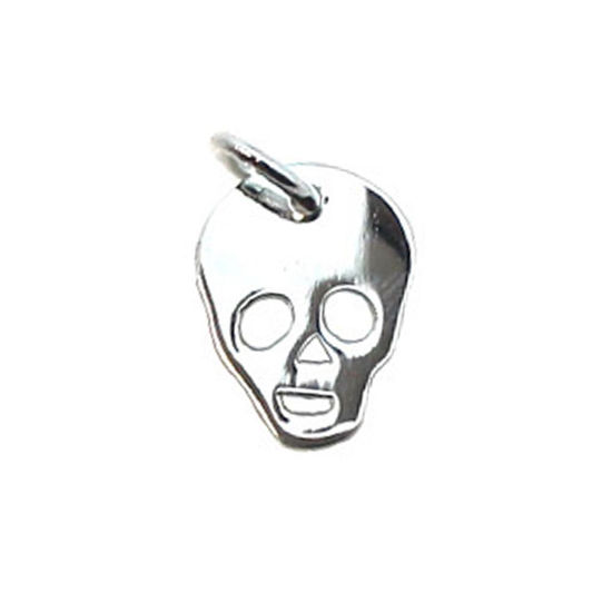 Wholesale 925 Sterling Silver Halloween Skull Charm - 11x9mm (1 pc)