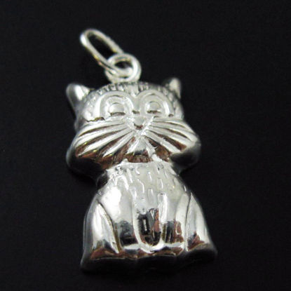 Wholesale 925 Sterling Silver Detailed Cat Charm Pendant With Oval Ring - 18x10mm (1 pc)