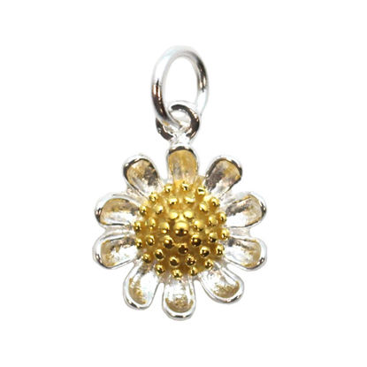 Wholesale Sterling Silver Two-tone Sunflower Charm, Charms and Pendants for Jewelry Making, Wholesale Findings