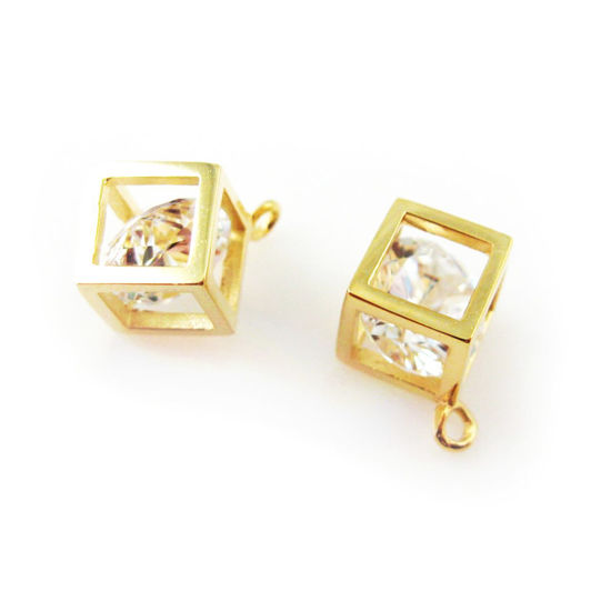 Wholesale Gold plated Sterling Silver Cube Charm with CZ Cubic Zirconia Stone, Charms and Pendants for Jewelry Making, Wholesale Findings