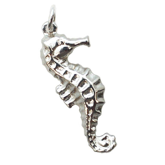 Wholesale 925 Sterling Silver Detailed Seahorse Charm - 27mm (1 pc)