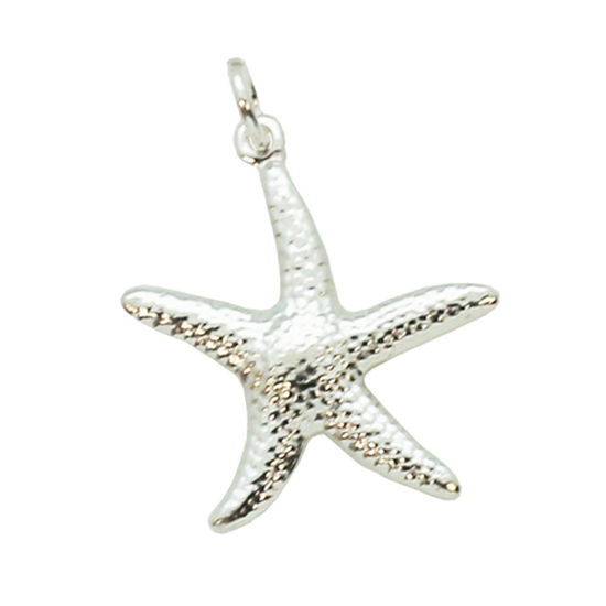 Wholesale 925 Sterling Silver Textured Starfish Charm - 25mm (1 pc)