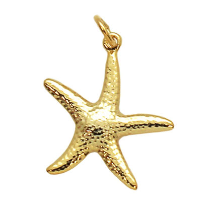 Wholesale Gold Over 925 Sterling Silver Textured Starfish Charm - 25mm (1 pc)