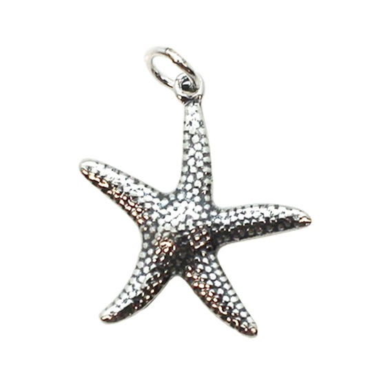 Wholesale Oxidized 925 Sterling Silver Textured Starfish Charm - 25mm (1 pc)