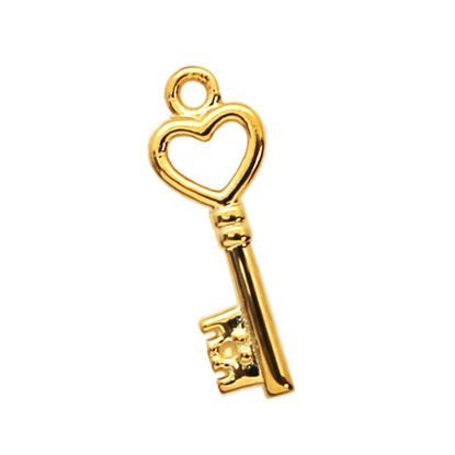 Wholesale Gold Over 925 Sterling Silver Tiny Key Charm with Heart - 19mm (1 pc)