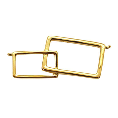 Wholesale Gold plated Sterling Silver Interlocking Rectangle Pendant, Charms and Pendants for Jewelry Making, Wholesale Findings