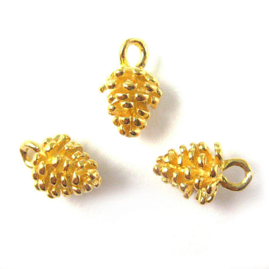 Wholesale Gold plated Sterling Silver Pine Cone Charm, Charms and Pendants for Jewelry Making, Wholesale Findings