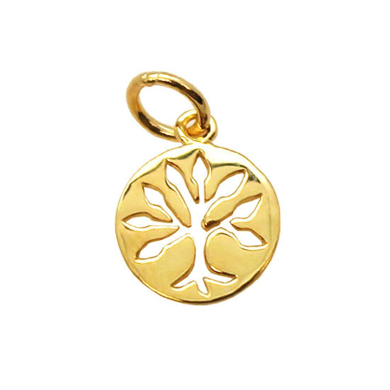Wholesale 22K Gold Over 925 Sterling Silver Tiny Tree of Life Coin Charm - 9mm (1 pc)