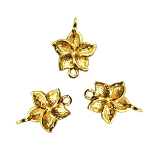 Wholesale Gold plated Sterling Silver Fragapani Flower Connector  Charms and Pendants for Jewelry Making, Wholesale Findings