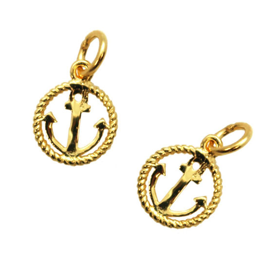 Wholesale 22K Gold Over 925 Sterling Silver Round Rope and Anchor Nautical Charm - 8mm (1 pc)