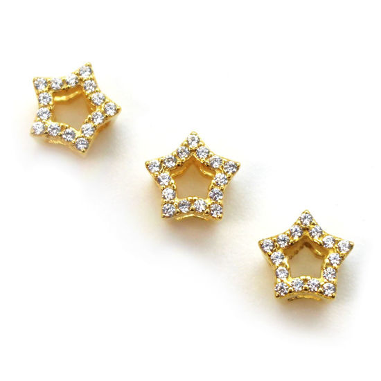 Wholesale Gold Plated Sterling Silver Tiny Star Connector Charm with CZ Stone , Charms and Pendants for Jewelry Making, Wholesale Findings