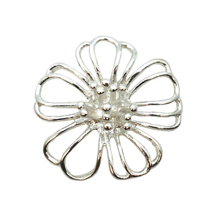 Wholesale Sterling Silver Large Buttercup Flower Connector Pendant, Charms and Pendants for Jewelry Making, Wholesale Findings