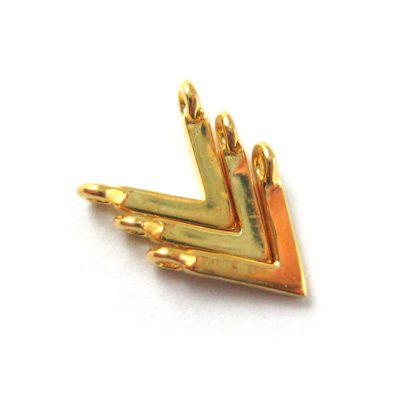 Wholesale Gold plated Sterling Silver Chevron Point Connector Charm, Charms and Pendants for Jewelry Making, Wholesale Findings