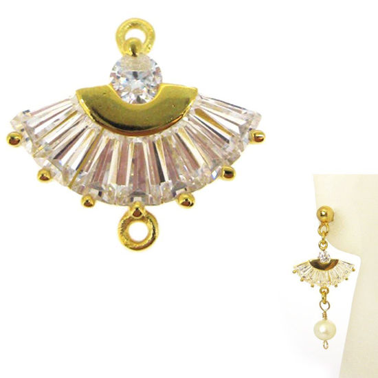 Wholesale 22K Gold Over 925 Sterling Silver CZ Stone Oriental Hand Fan Connector Link - 13mm (1 pc)