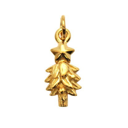 Wholesale Gold plated Sterling Silver Holiday Christmas Tree Charm, Charms and Pendants for Jewelry Making, Wholesale Findings