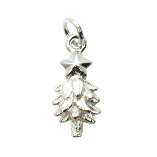 Wholesale Sterling Silver Holiday Christmas Tree Charm, Charms and Pendants for Jewelry Making, Wholesale Findings