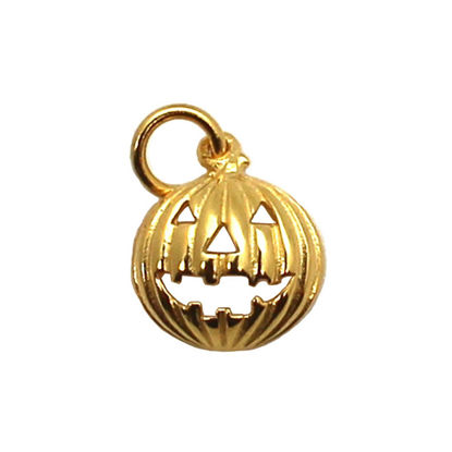 Wholesale Gold plated Sterling Silver Pumpkin Jack-o-Lantern Charm, Charms and Pendants for Jewelry Making, Wholesale Findings