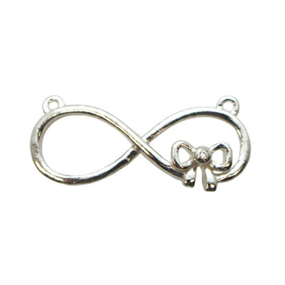 Wholesale Sterling Silver Large Infinity Connector Charm with CZ Cubic Zirconia stone, Charms and Pendants for Jewelry Making, Wholesale Findings