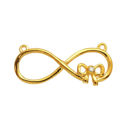 Wholesale Gold plated Sterling Silver Large Infinity Connector Charm with CZ Cubic Zirconia stone, Charms and Pendants for Jewelry Making, Wholesale Findings