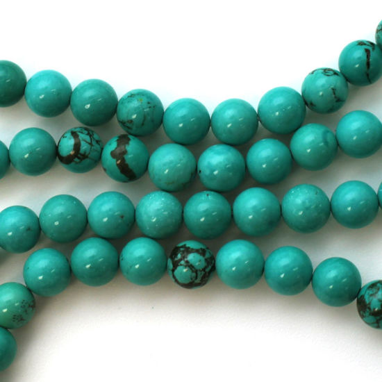 Wholesale Blue Howlite Beads - 6.5mm Round Shape (sold per strand)