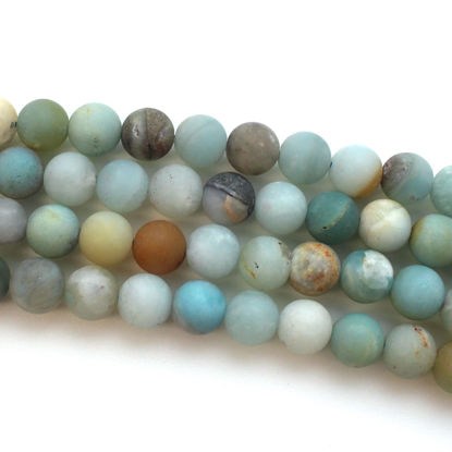 Wholesale Rainbow Amazonite Beads - 8mm Frosted Multi-Colored Matte Round Beads (Sold Per Strand)