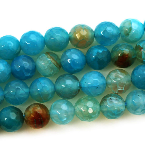 Wholesale Teal Blue Agate Beads - Faceted Round 8mm (Sold Per Strand)