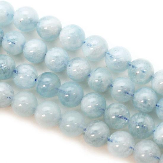 Wholesale March Birthstone-Aquamarine Beads - Natural Stone - Round 8mm (sold per strand)
