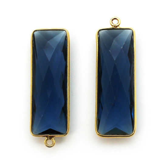 Wholesale Bezel Charm Pendant-Gold Plated-Blue Iolite Quartz-Elongated Rectangle-34 by 11mm