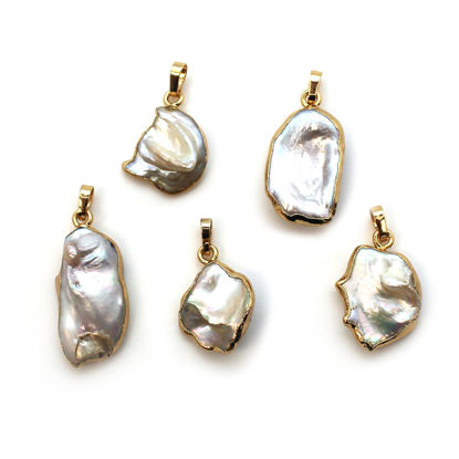 Wholesale Gold Plated Keshi Freshwater Pearl Pendant Charm (1 pc)